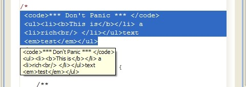 Screen shot of Java editor plug-in example, showing HTML markup passed through as text.